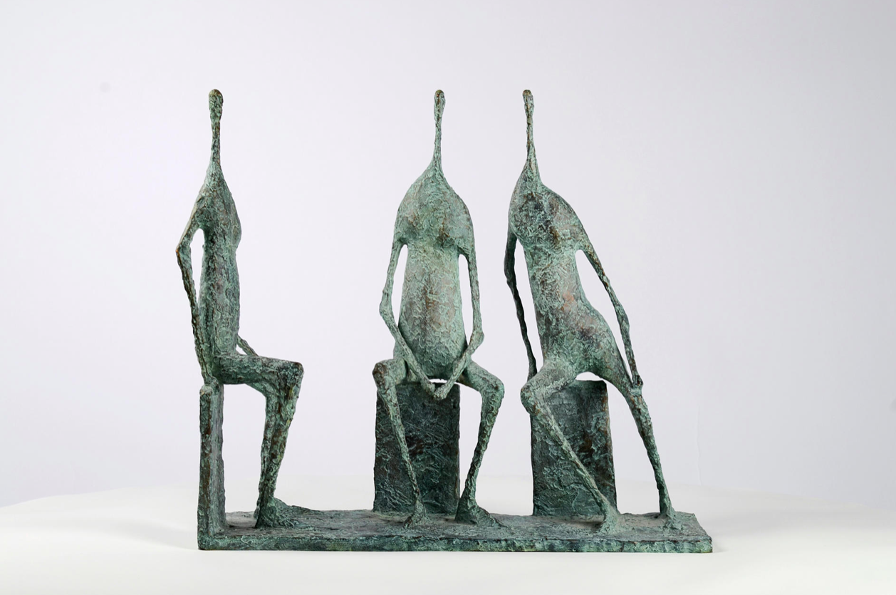 3 Figures assises I,Pierre Yermia,Sculpture