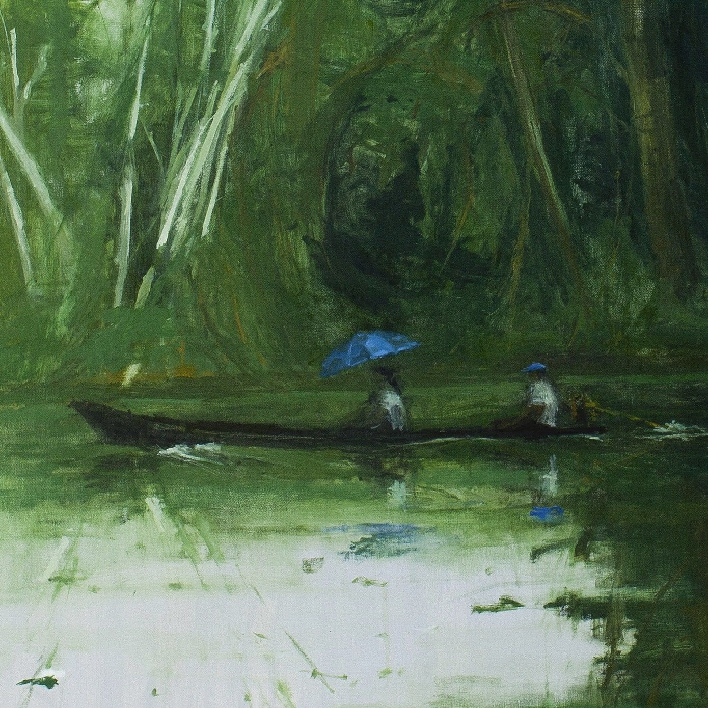 Sailing from Leticia to Santa Rosa, Jungle series,Calo  Carratalá,Contemporary painting, detail 4
