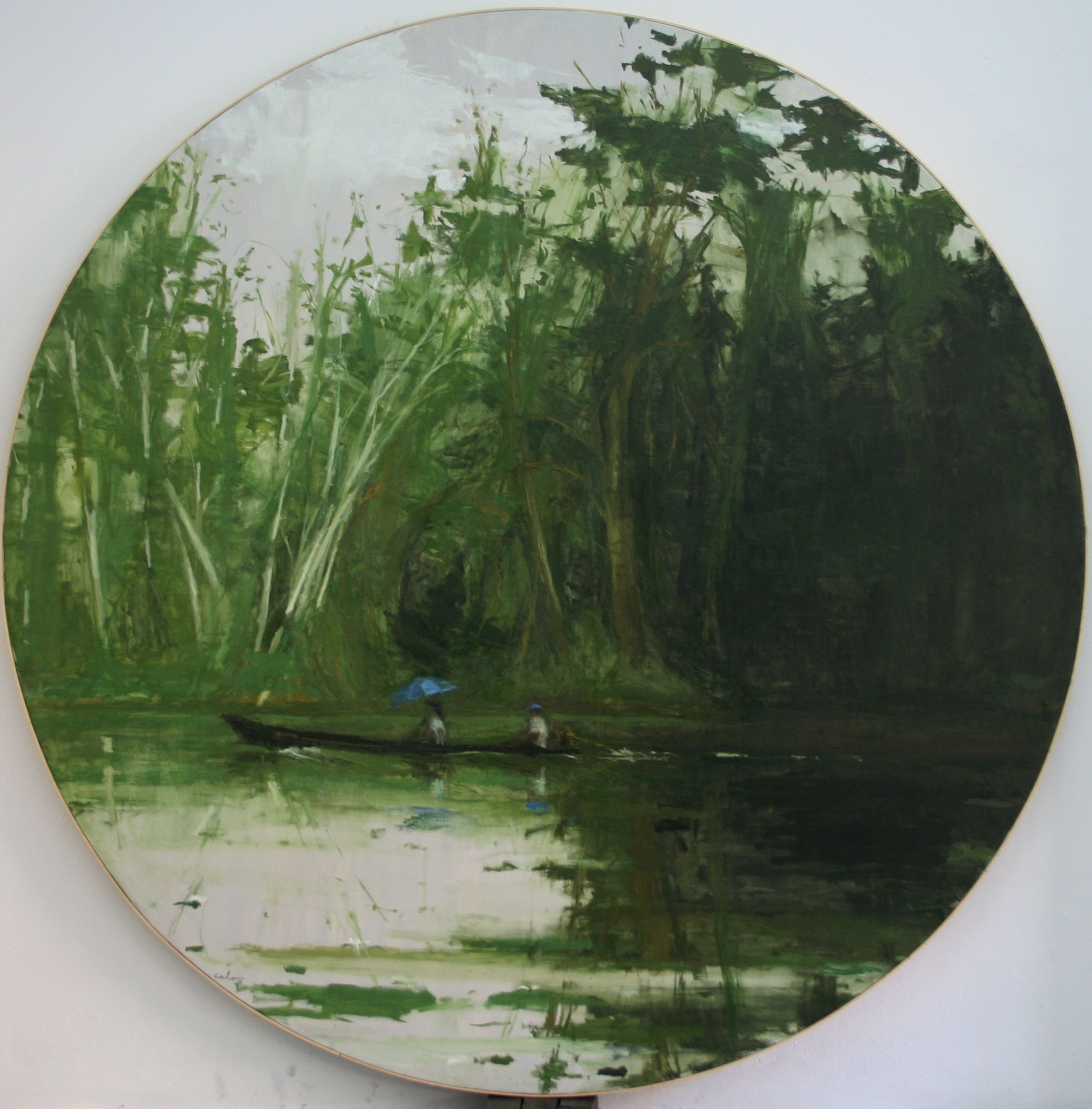En naviguant de Leticia à Santa Rosa, série Jungle,Calo  Carratalá,Peinture contemporaine