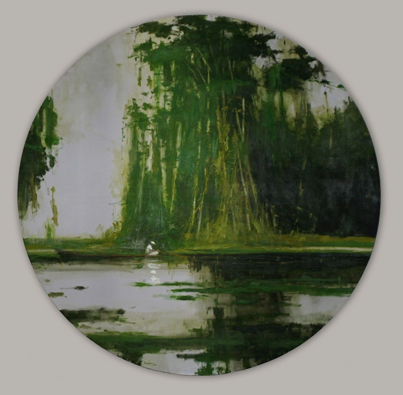 Fishermen on river Nanay 2 - Calo  Carratalá - Contemporary painting