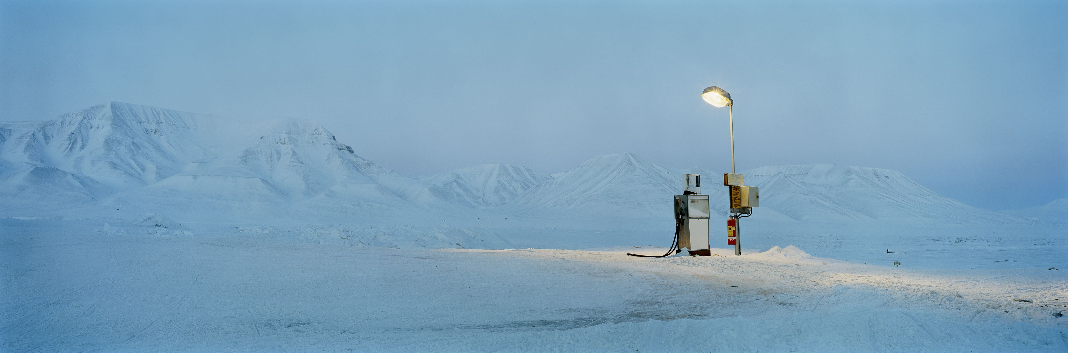 Gasoline Pump in Moonlight, Barentsburg, Spitsbergen,Christian Houge,Photography