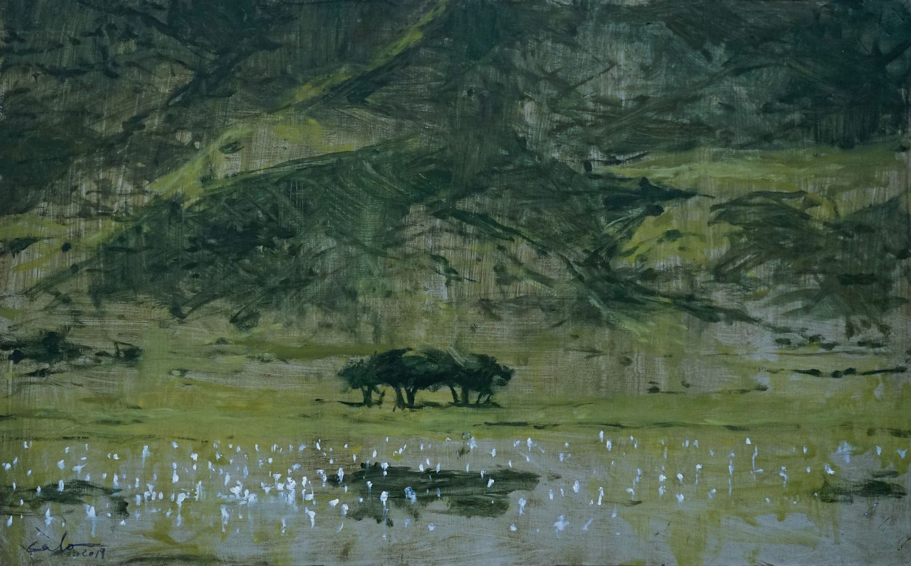 Lake in the Ngorongoro - Calo  Carratalá - Contemporary painting