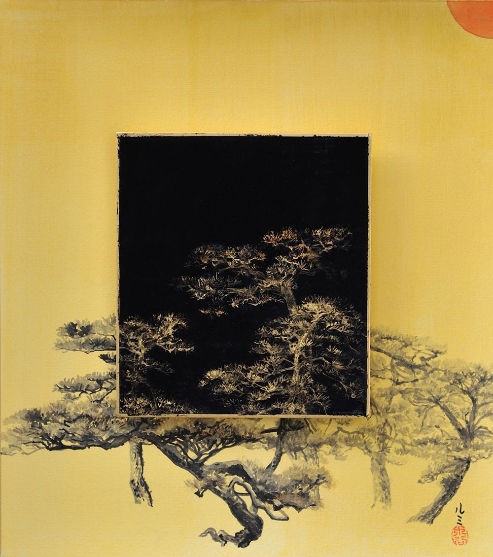 Day and Night - Pine tree,Lumi Mizutani,Contemporary painting