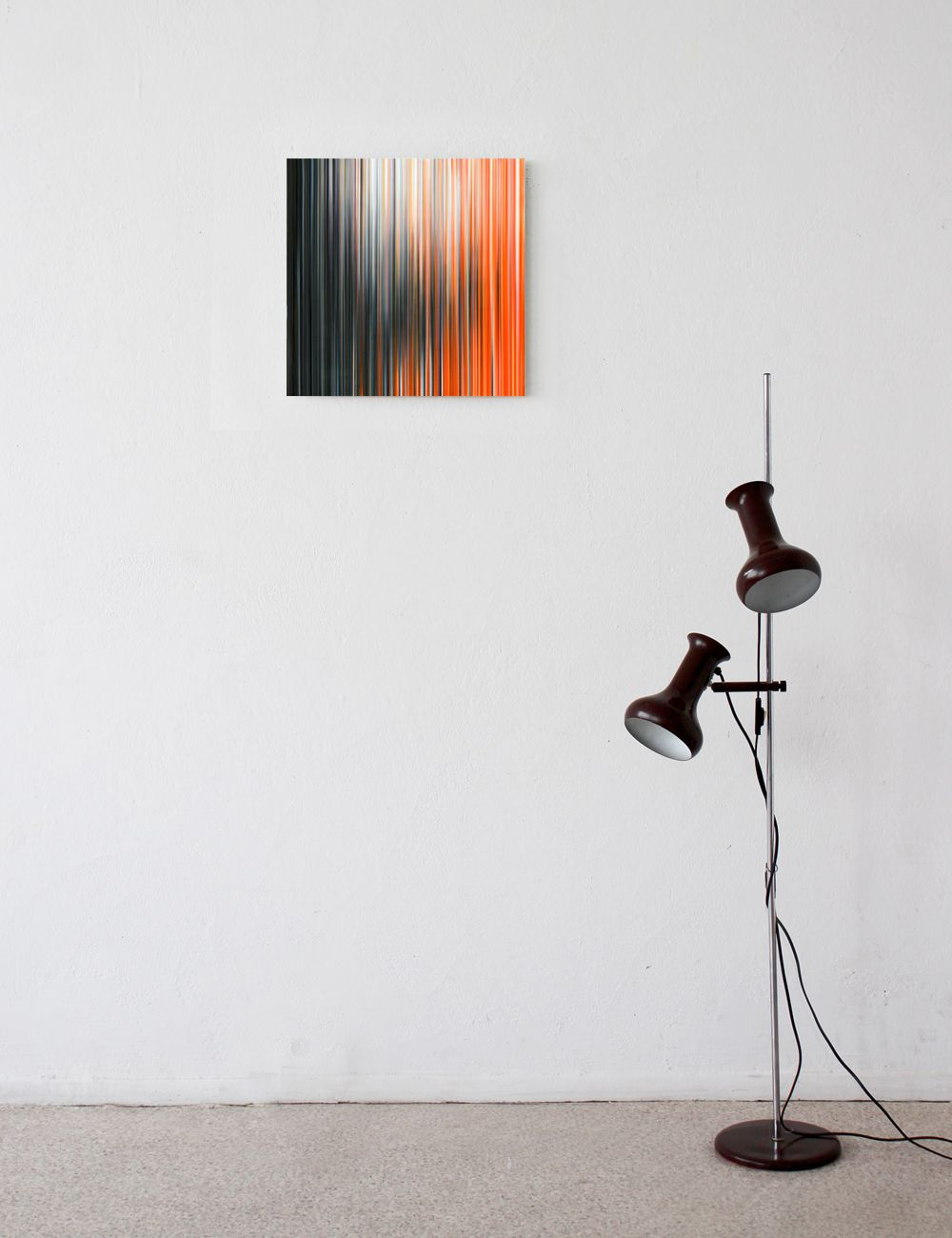 Light'n'Lines No.15 (BlackWhiteOrange),Doris Marten,Contemporary painting, detail 1