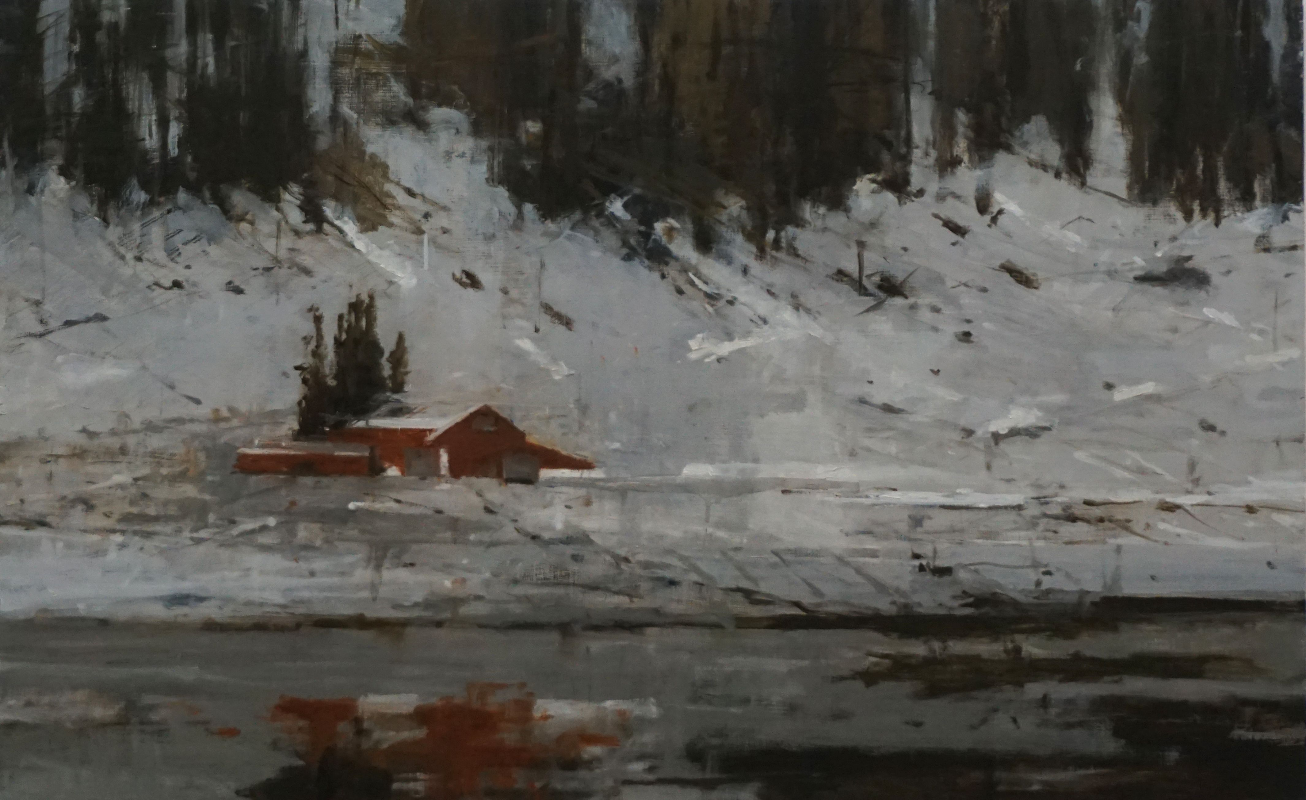 Red Houses n°1, Norway series,Calo  Carratalá,Painting
