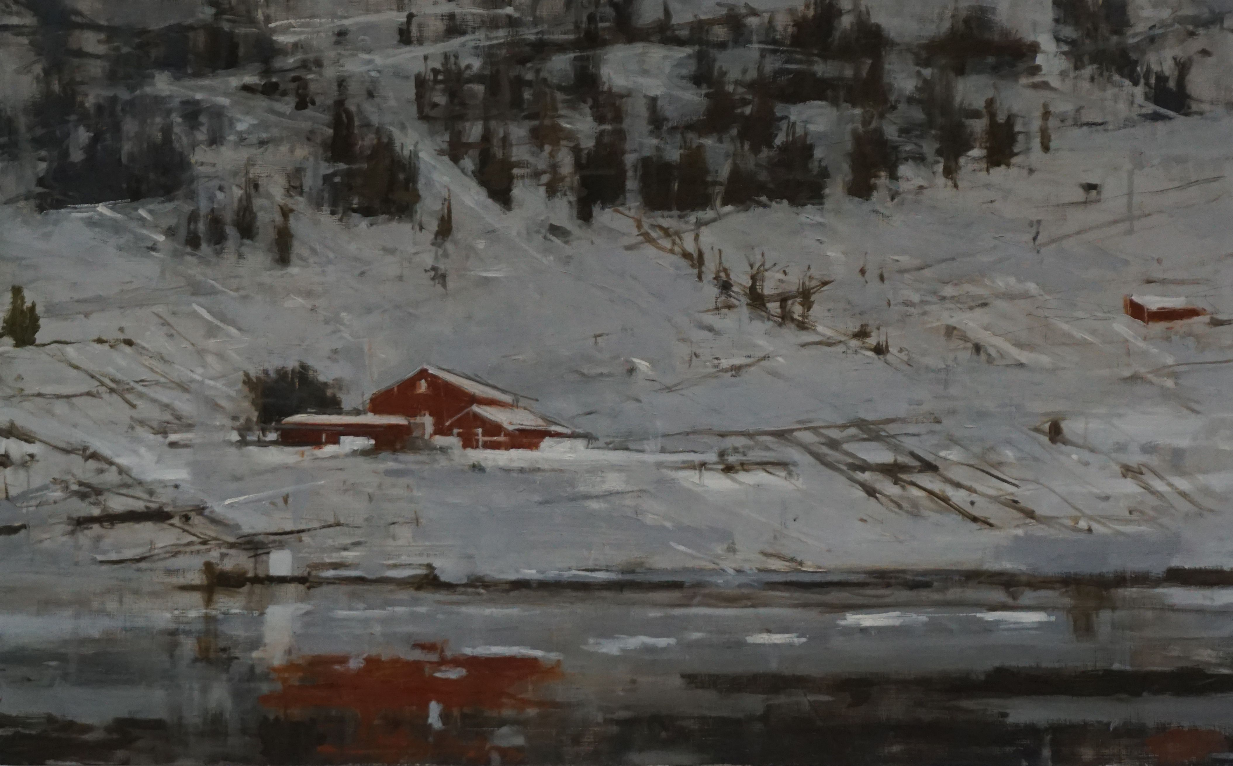 Red Houses n°2, Norway series,Calo  Carratalá,Painting