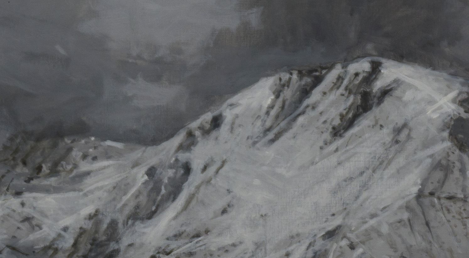 Twin Mountains, Snow collection,Calo  Carratalá,Painting, detail 1