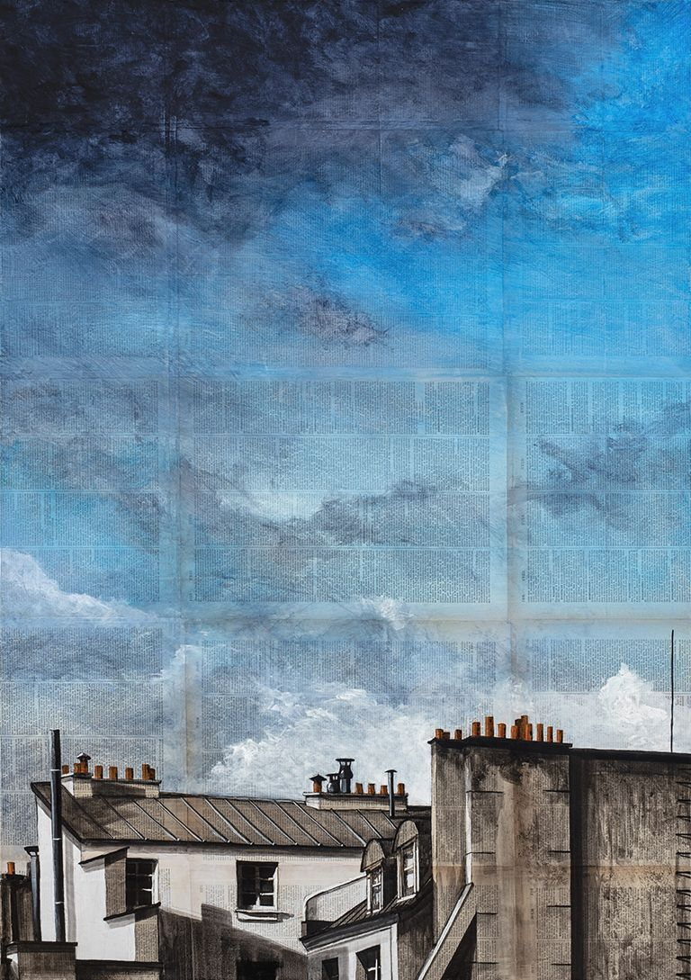 Orage sur Paris,Guillaume Chansarel,Contemporary painting