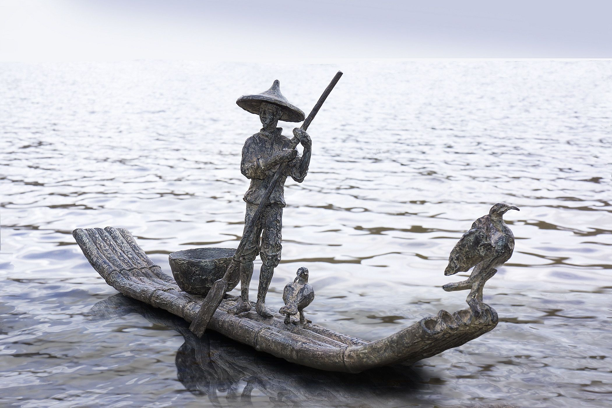 Cormorant fishing,Marine de Soos,Sculpture