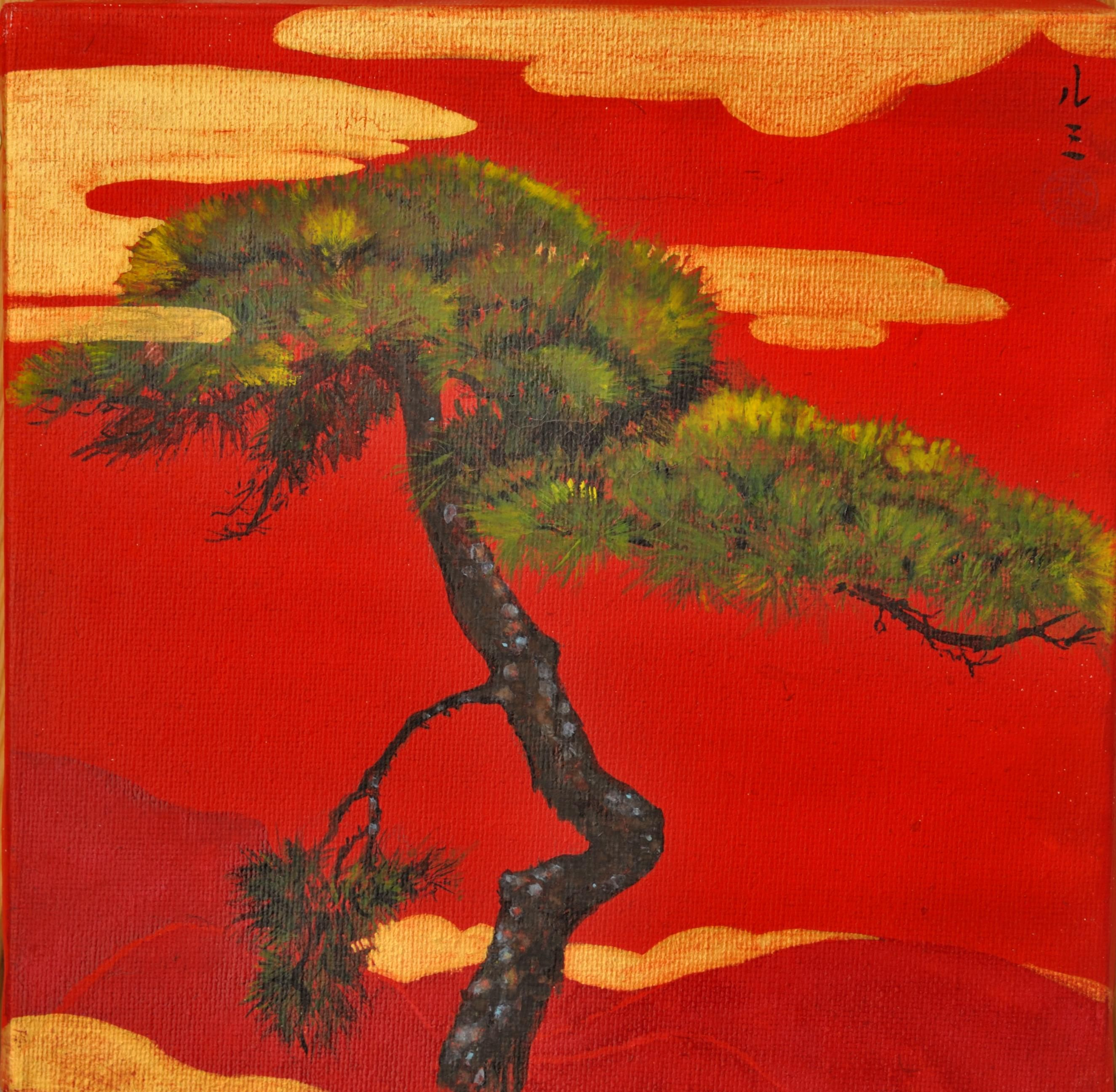 Pine Tree with Palace,Lumi Mizutani,Painting
