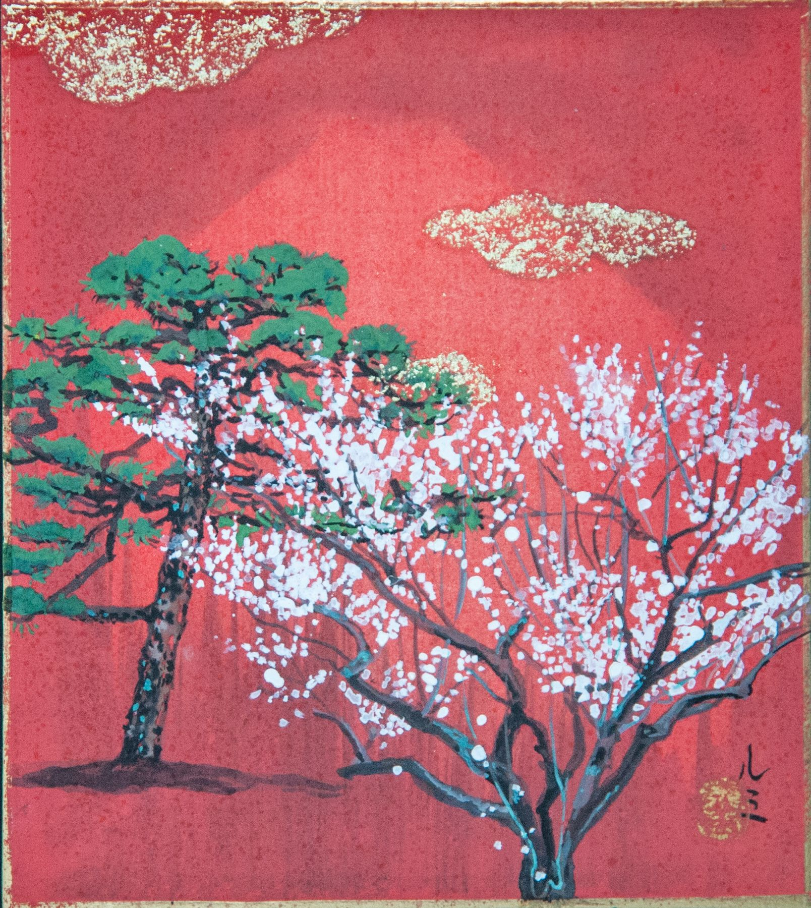 Pine and Plum tree,Lumi Mizutani,Painting