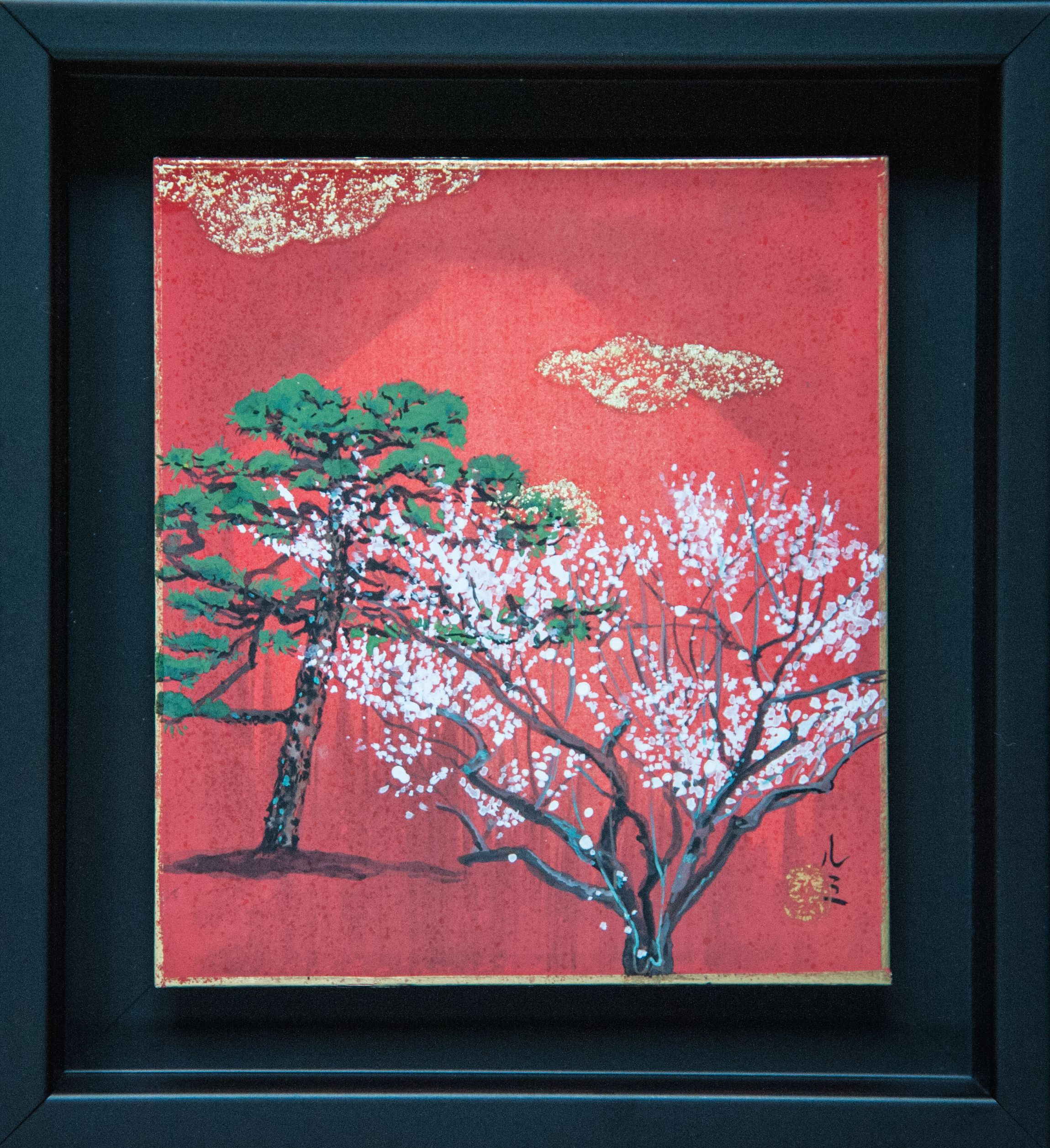 Pine and Plum tree,Lumi Mizutani,Painting, detail 1