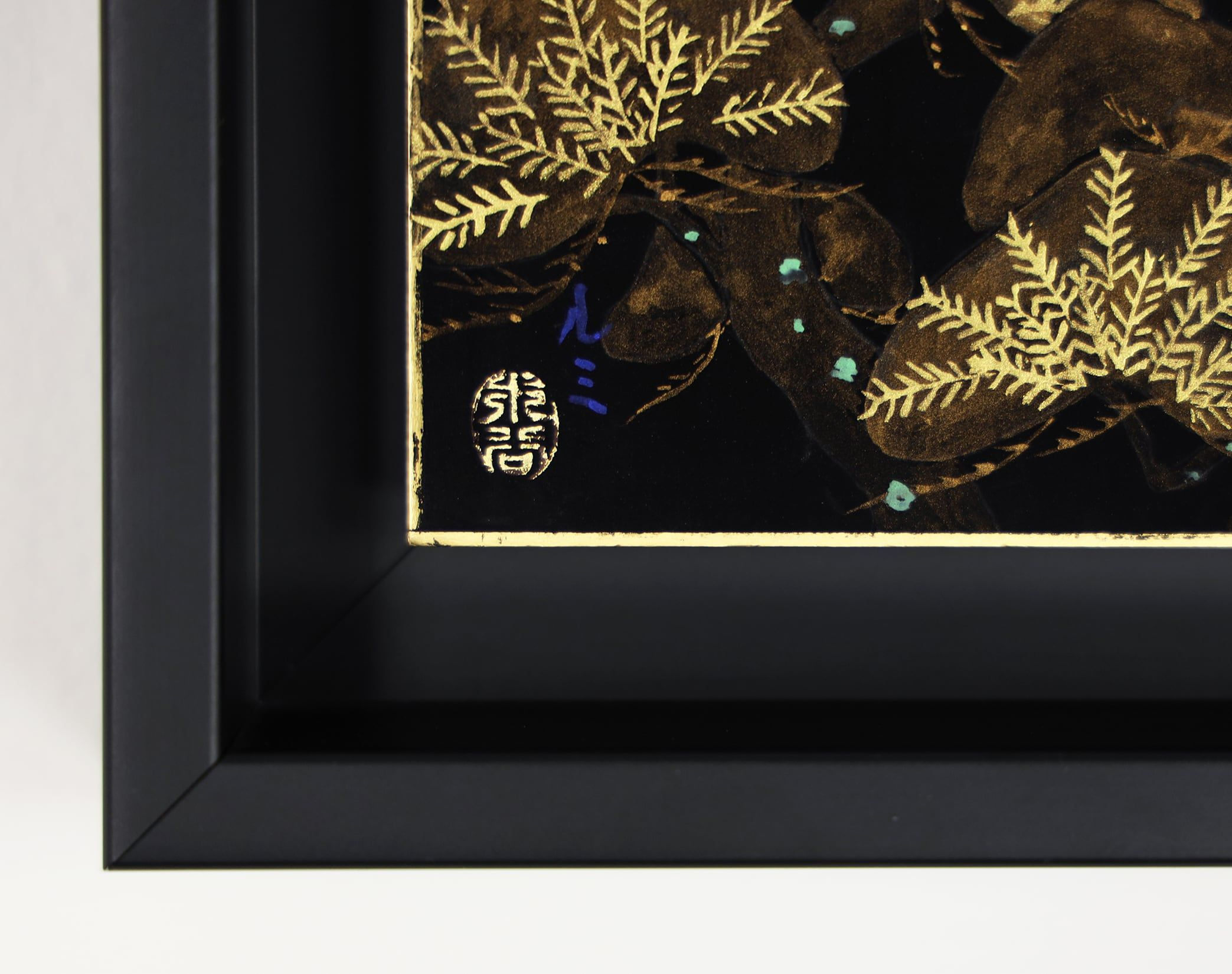 Pine with blue moon - Tribute to Tawaraya Sotatsu,Lumi Mizutani,Contemporary painting, detail 4