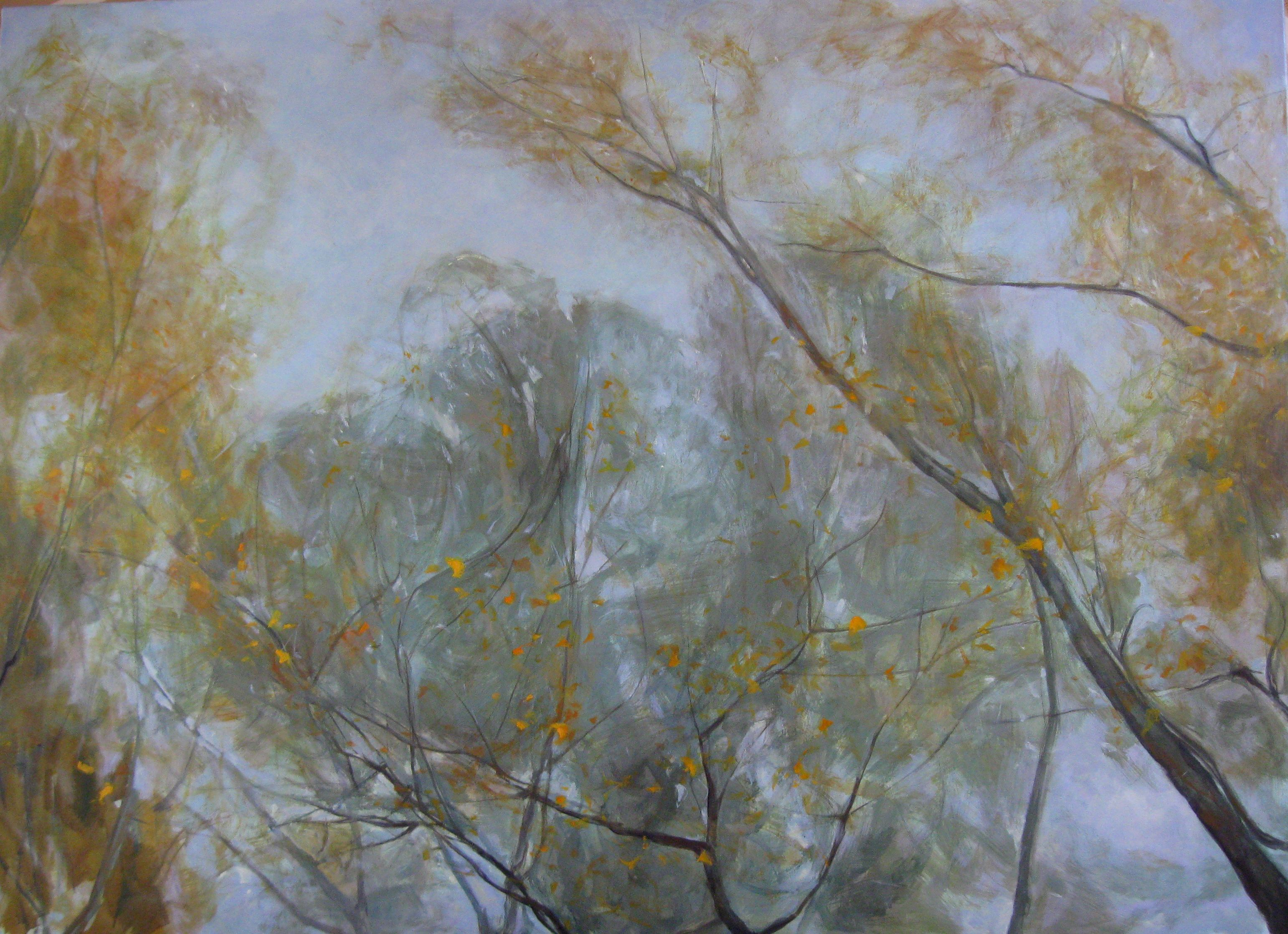 Aspens' and Willows' Branches in Autumn ,Valérie de Sarrieu,Painting