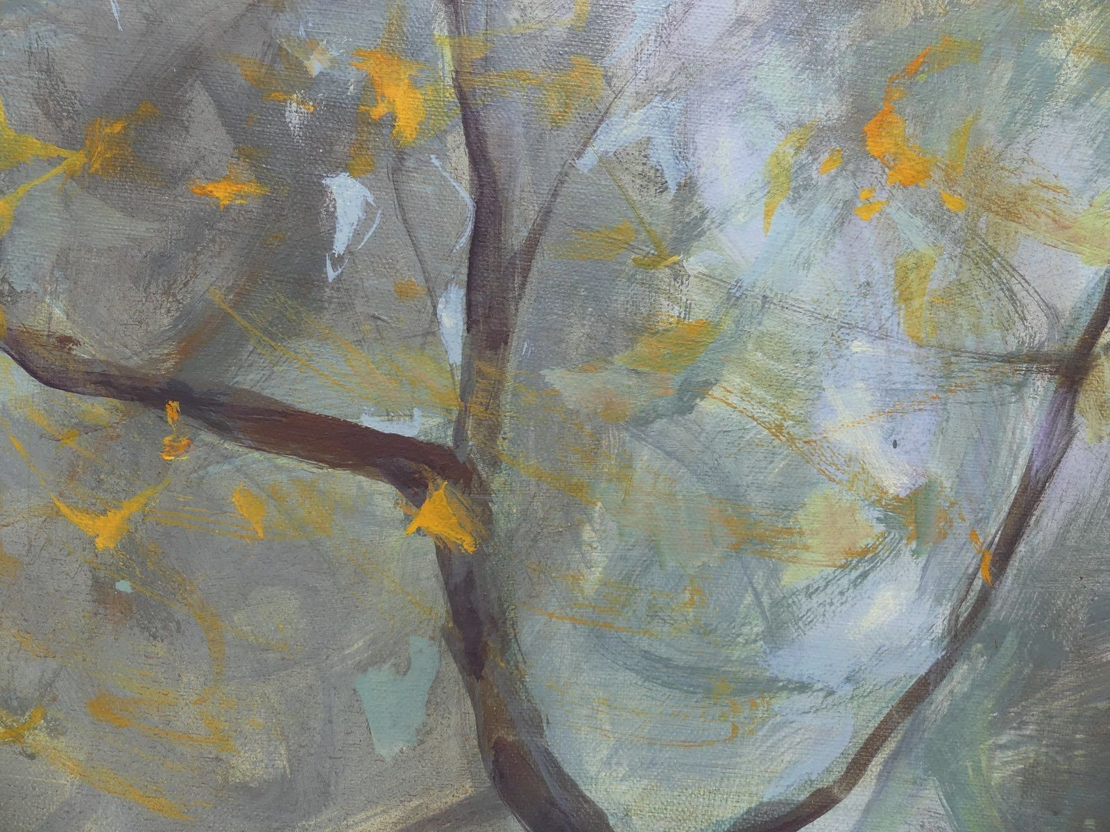 Aspens' and Willows' Branches in Autumn ,Valérie de Sarrieu,Contemporary painting, detail 1