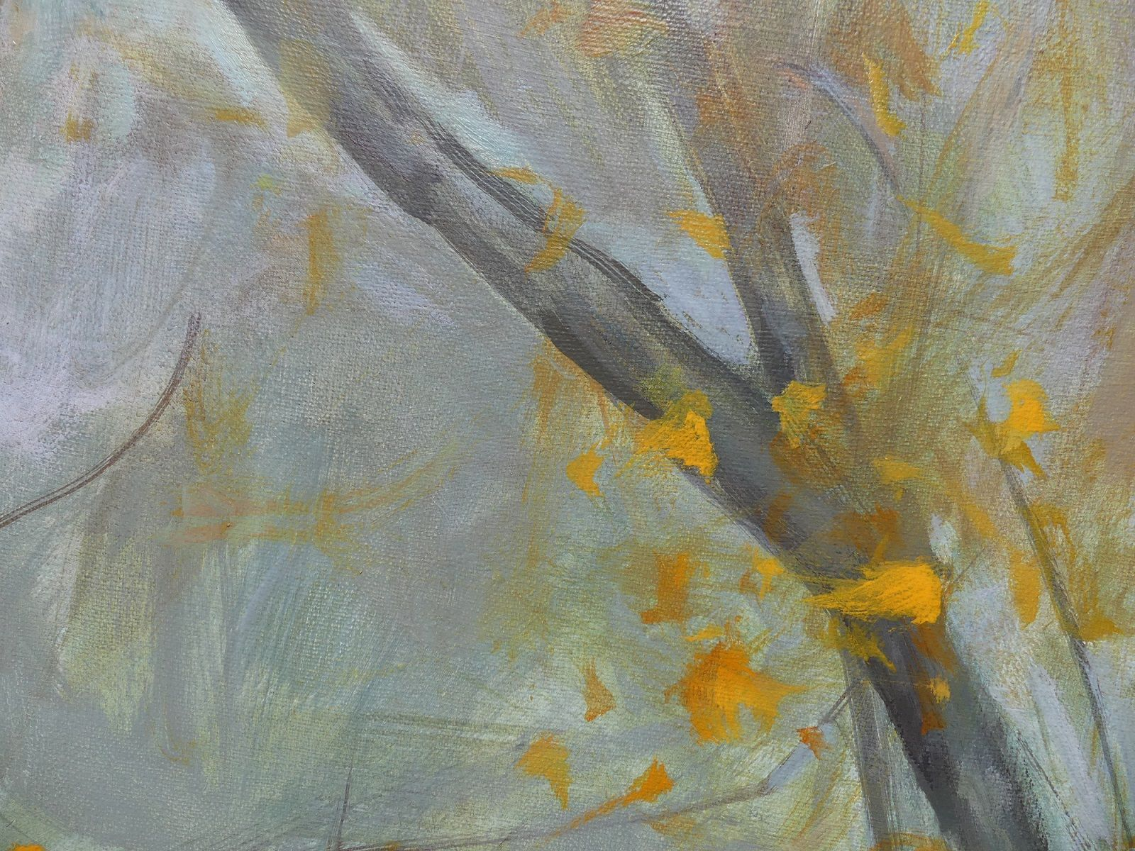 Aspens' and Willows' Branches in Autumn ,Valérie de Sarrieu,Contemporary painting, detail 2