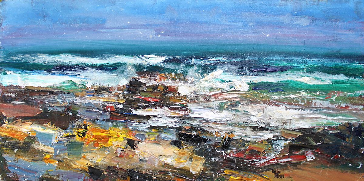 Rocks and Surf, Dornoch   ,Jonathan Shearer,Painting