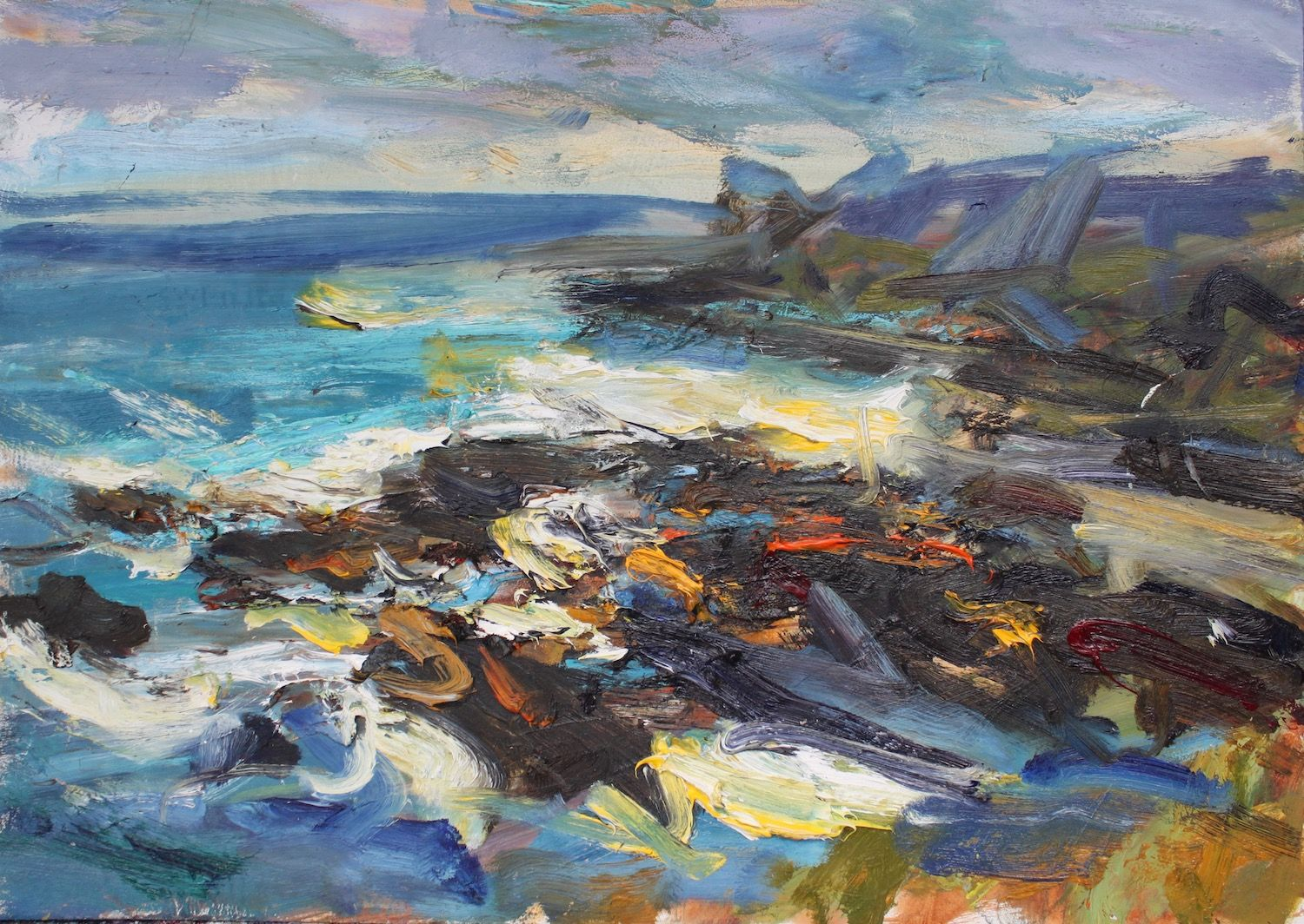 Sea Cliff Tarbet Ness,Jonathan Shearer,Peinture contemporaine
