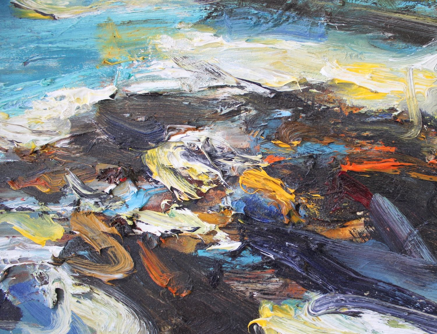 Contemporary painting - Jonathan Shearer - Sea Cliff Tarbet Ness - detail 1