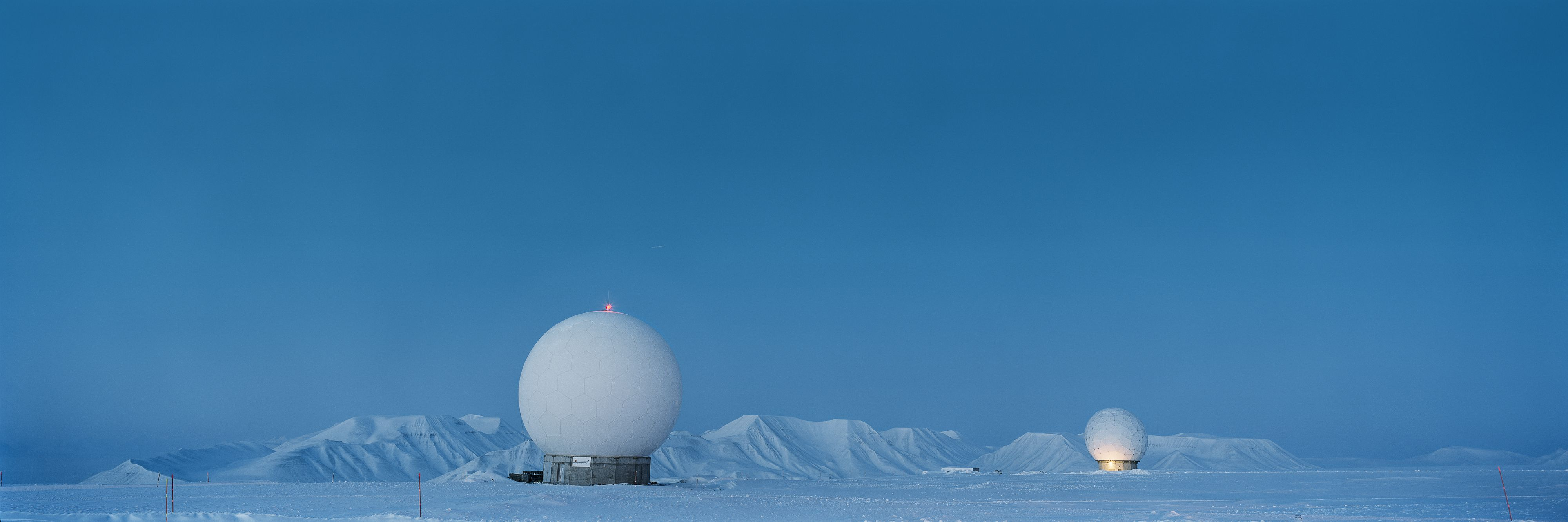 Spheres in moonlight, Arctic Technology, Spitsbergen