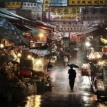 Market in the rain