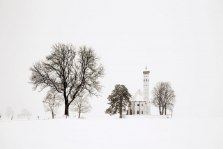 Trees and church (Bavaria), Blizzard 2