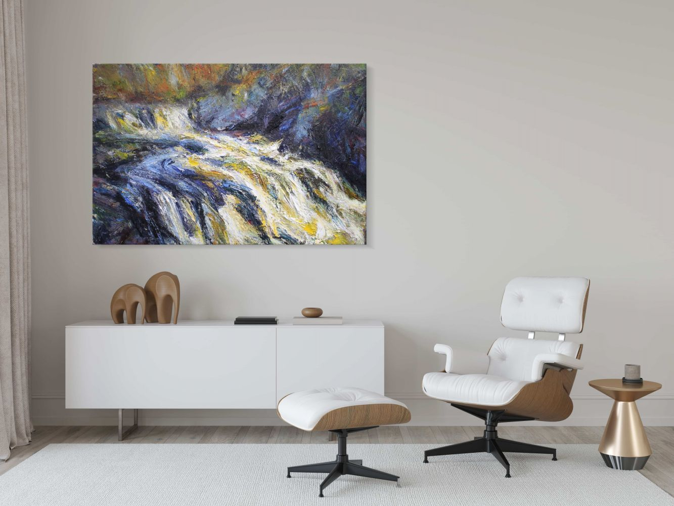 Contemporary painting - Jonathan Shearer - Swollen river, Black water - detail 1