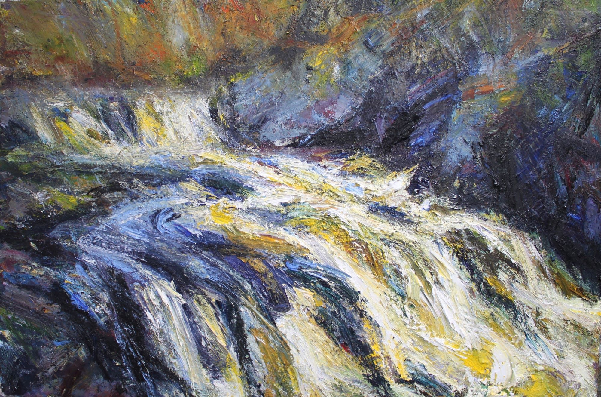 Swollen river, Black water,Jonathan Shearer,Peinture contemporaine