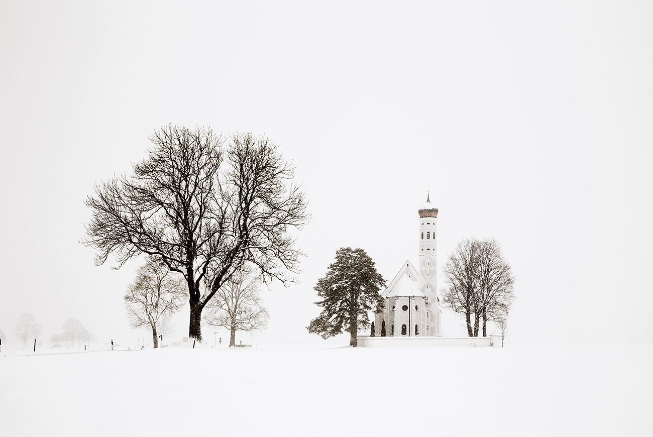 Trees and church (Bavaria), Blizzard 2 - Christophe Jacrot - Photographie contemporaine