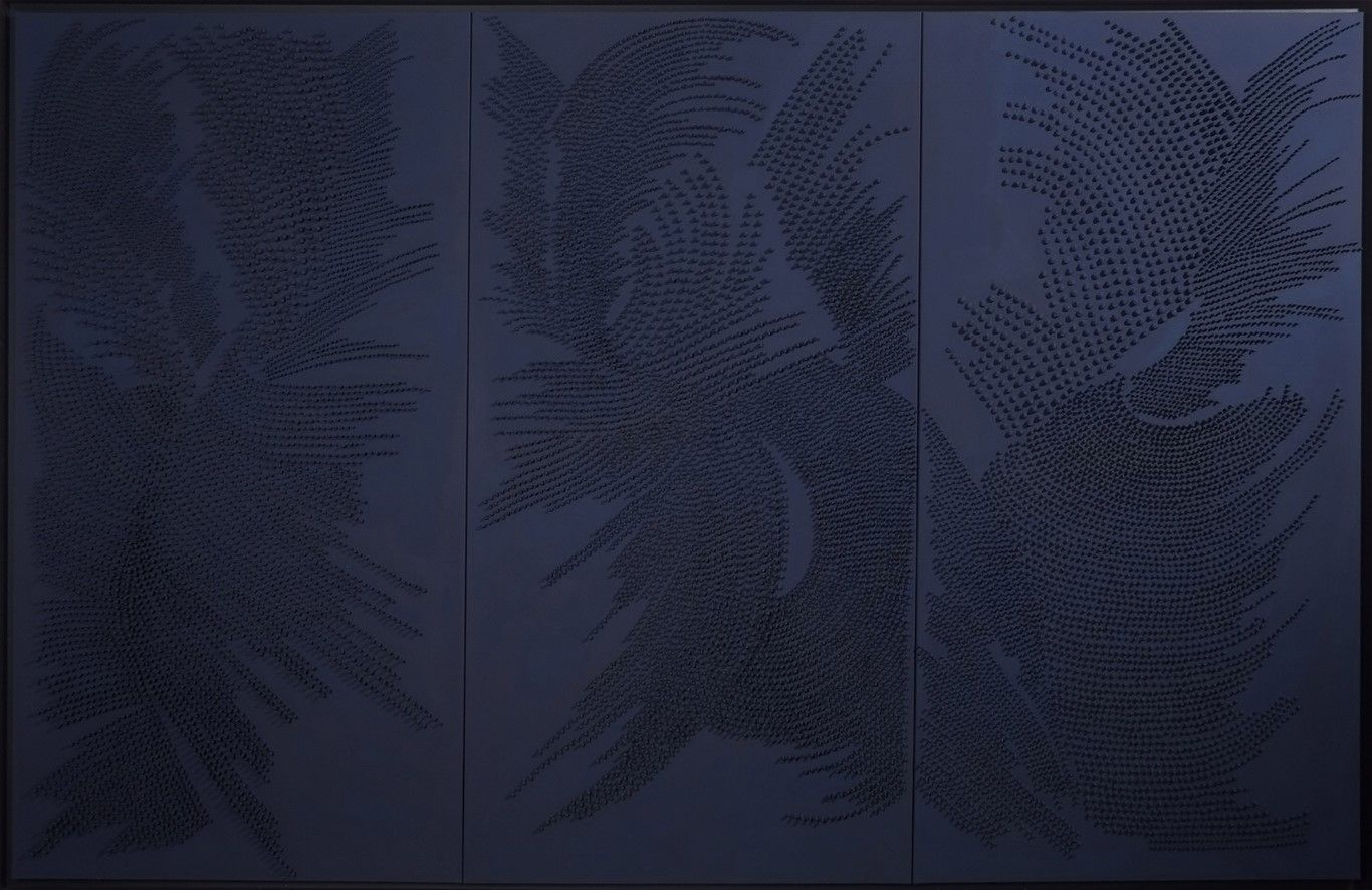Blue Triptych I,Jane Puylagarde,Contemporary painting, detail 2