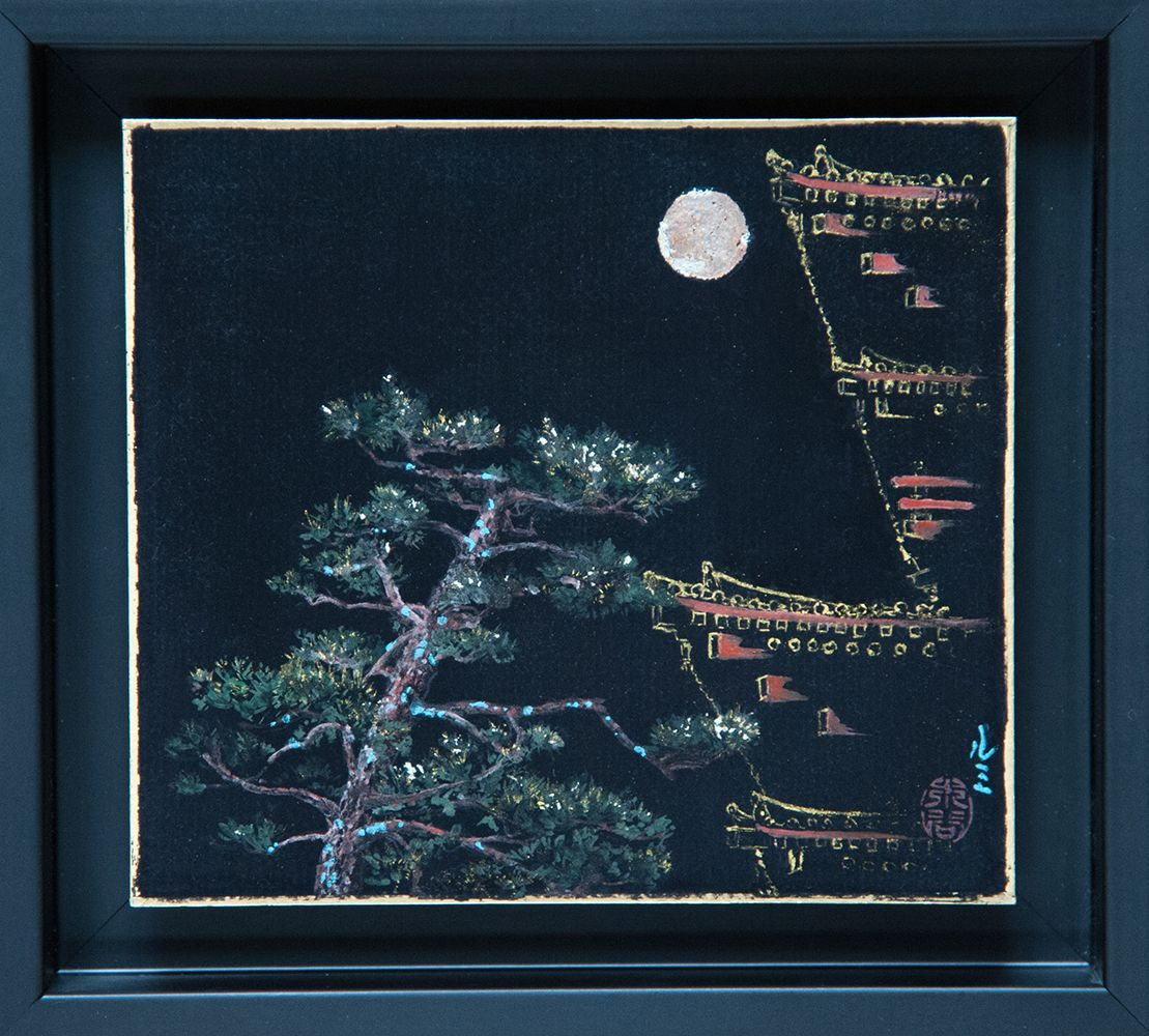 Yakushiji to the Moon,Lumi Mizutani,Contemporary painting, detail 1