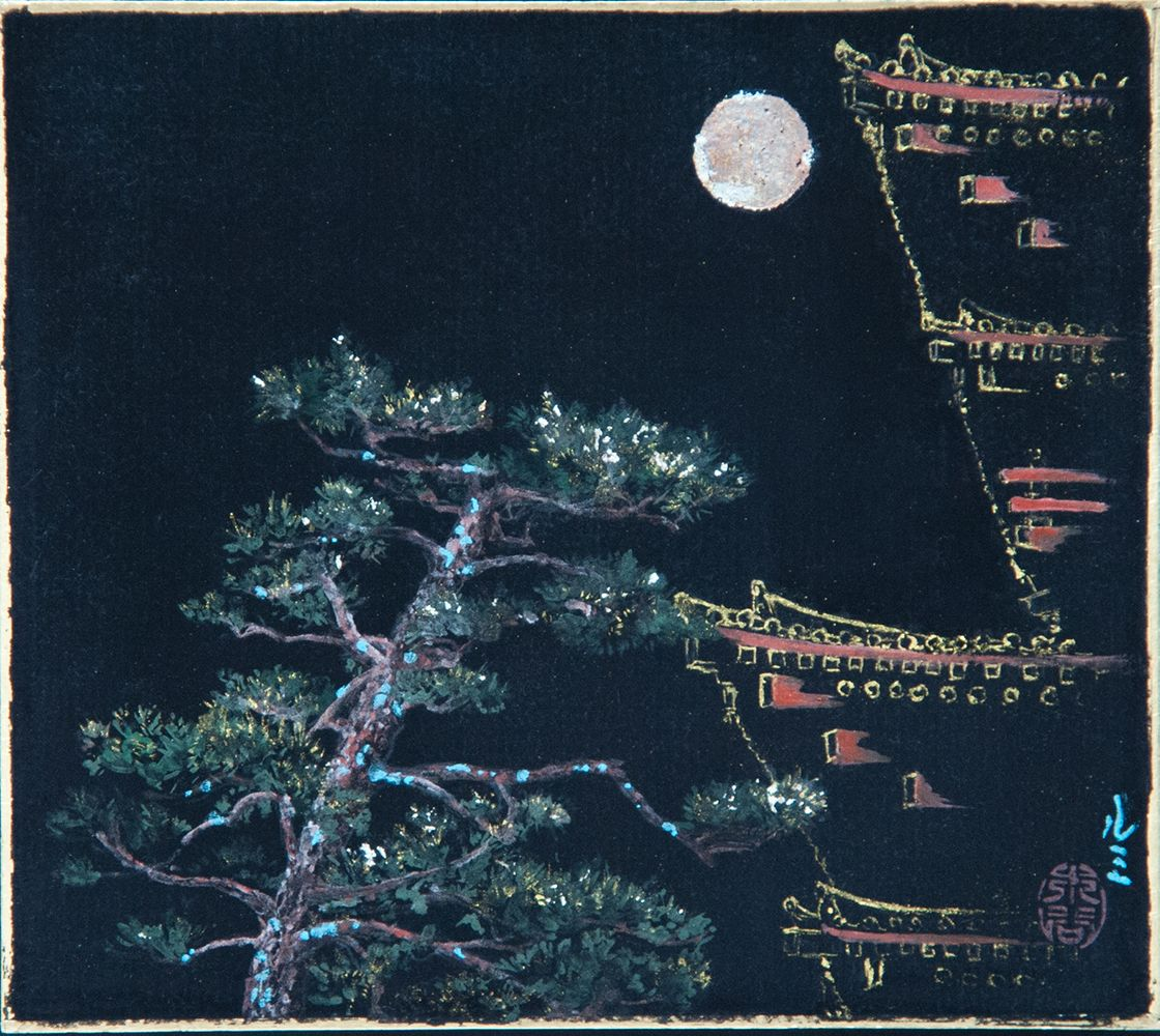 Yakushiji to the Moon,Lumi Mizutani,Contemporary painting